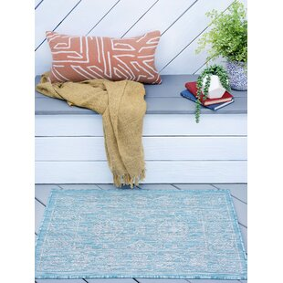 Haywards Traditional Border Aqua Indoor/Outdoor Area Rug