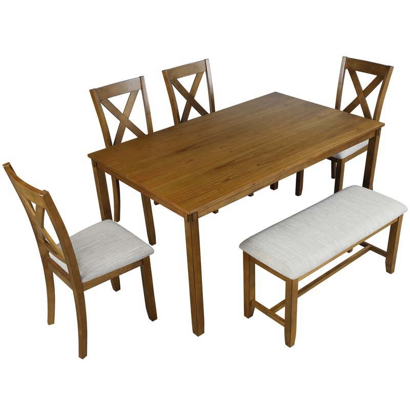 red barrel studio® 6piece kitchen dining table set grey