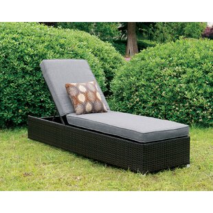 Breneman Patio Reclining Chaise Lounge with Cushion
