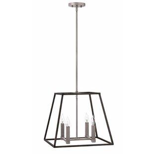 Foundry Select Burley Oak 4-Light Square/Rectangle Pendant