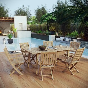 Anthony Outdoor Patio 7 Piece Teak Dining Set By Modern Rustic Interiors
