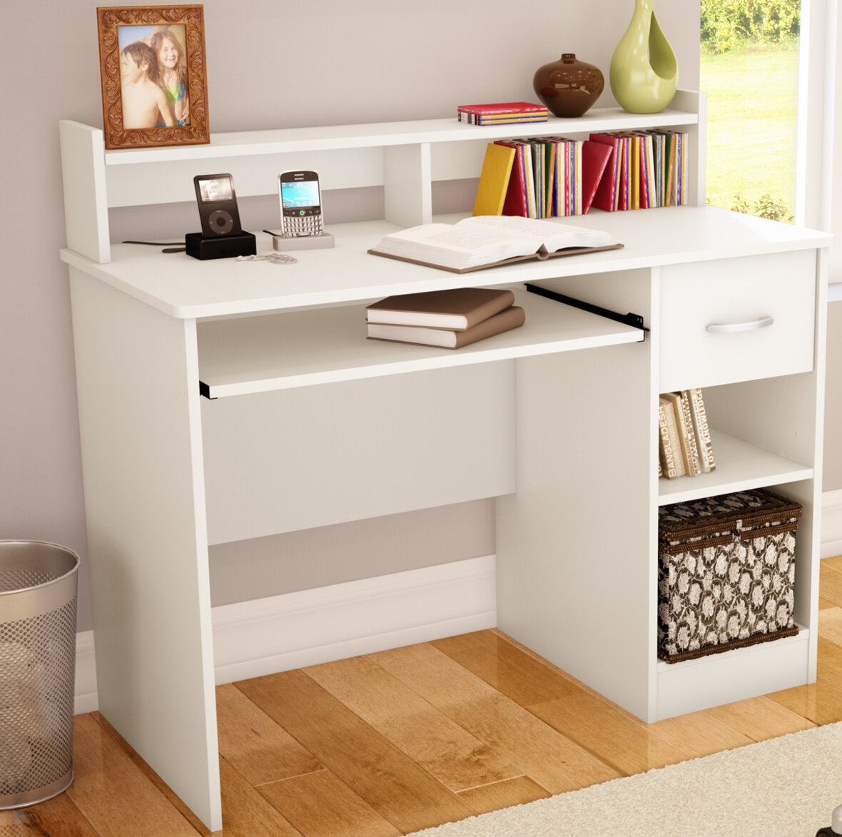with hutch computer drawers desk sauder products corner and forge carson
