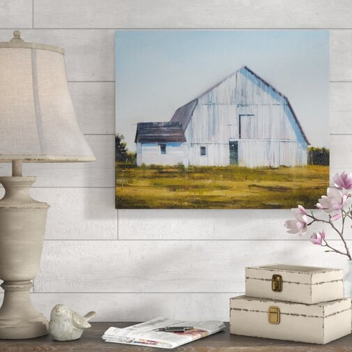 'Old White Barn' Graphic Art Print on Canvas