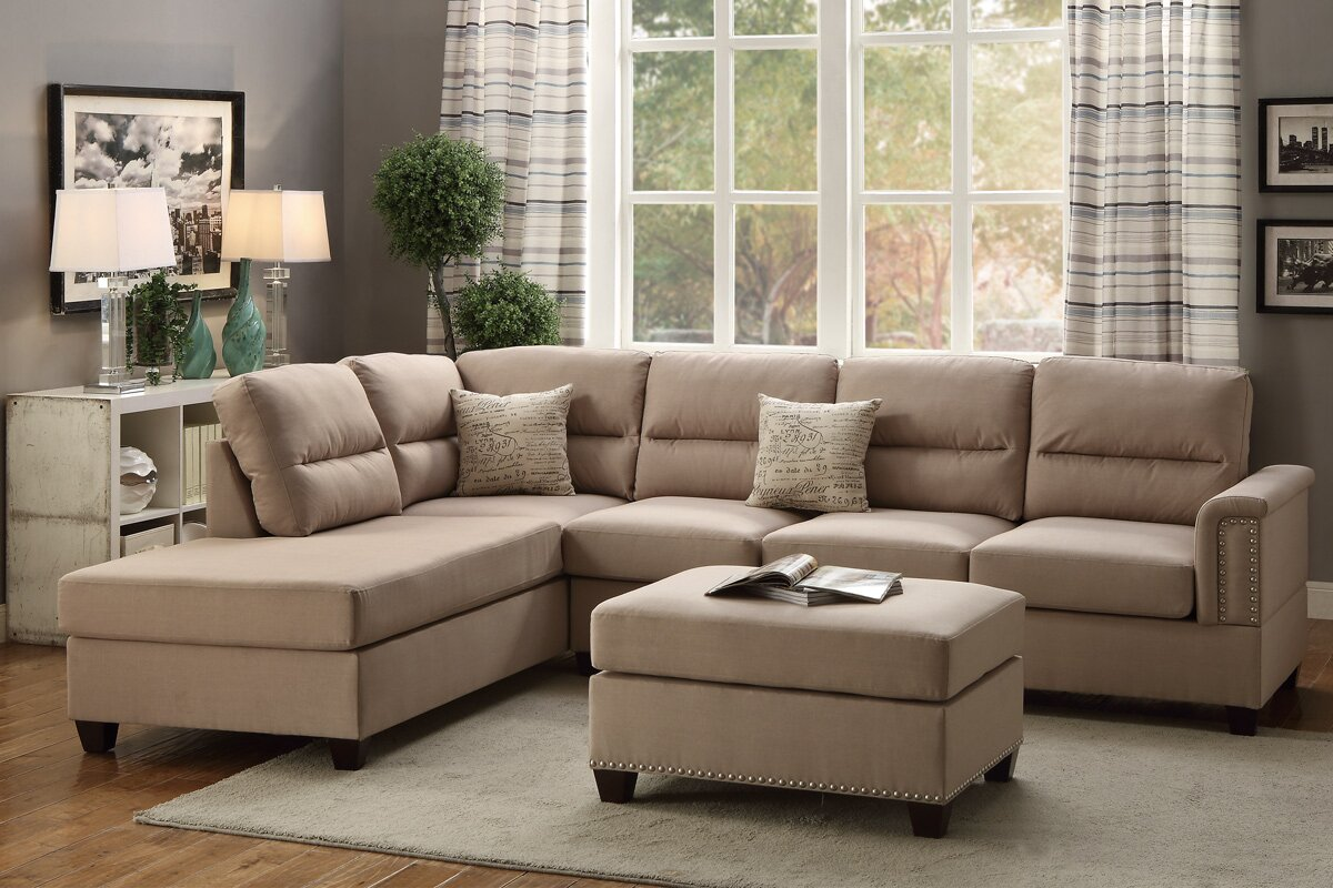 Bobkona Toffy Reversible Sectional : sectionals living room furniture - Sectionals, Sofas & Couches