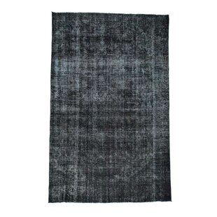 Read Reviews One-of-a-Kind Casperson Overdyed Worn Hand-Knotted Runner 7'4 x 11'8 Wool Black Area Rug By Isabelline