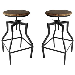 Hogle Adjustable Height Bar Stool - set of 2 (Set of 2) by Williston Forge