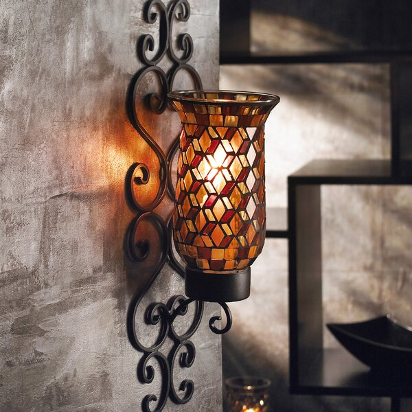 Metal Wall Sconce world menagerie mosaic glass and metal wall sconce & reviews | wayfair