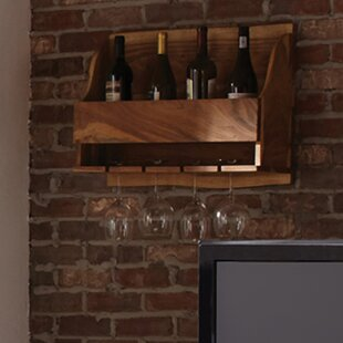 Bexton Live Edge Natural 4 Bottle Wall Mounted Wine Rack by Foundry Select