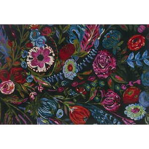 Wild Bloom Hand-Hooked Forest/Fuchsia Area Rug