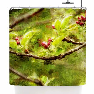 Ginkelmier Painted Apple Blossom Branch Photography Single Shower Curtain