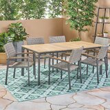 Cortney Outdoor 7 Piece Dining Set