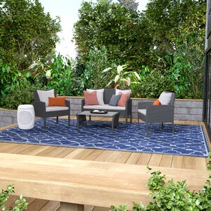 Lachesis 4 Piece Rattan Bench Seating Group with Cushions
