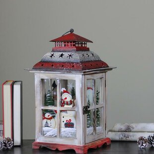 The Holiday Aisle Rustic Holiday Snowman Metal and Wood Lantern