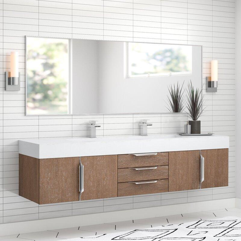 "hukill 72"" wall-mounted double bathroom vanity set & reviews   allmodern"
