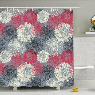 Dahlia Flower Motif with Color Element Effects Shower Curtain Set