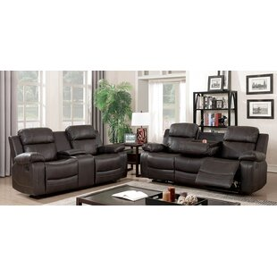 Helfrich Contemporary Leather Manual Wall Hugger Reclining Configurable Living Room Set Red Barrel Studio