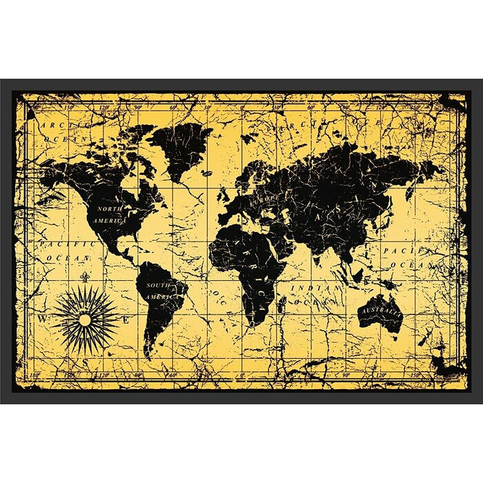 'World Map Antique Vintage Old Style' Framed Graphic Art on books sale, white sale, green sale,