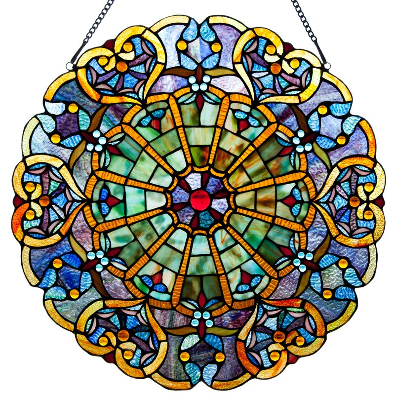August Grove Webbed Heart Tiffany Style Stained Glass