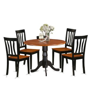 5 Piece Drop Leaf Solid Wood Dining Set by East West Furniture