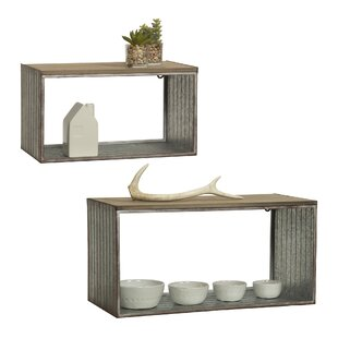 Gracie Oaks Leighton Galvanized 2 Piece Wall Shelf Set