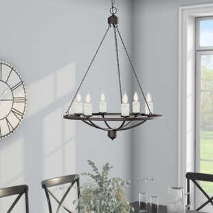 Gracie Oaks Callion 6-Light Wagon Wheel Chandelier