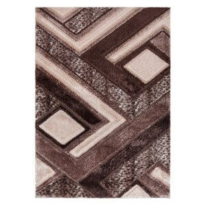 Casa Regina Modern Boxes Design Brown/Beige Area Rug