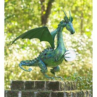 Dragon Garden Statue With Solar Pearl