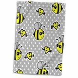 3dRose Gold Crown Keep Calm and Love Bumble Bees Towel 15 x 22