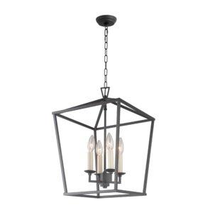 Charlton Home Stanek Iron Cage Openwork 4-Light Lantern Pendant