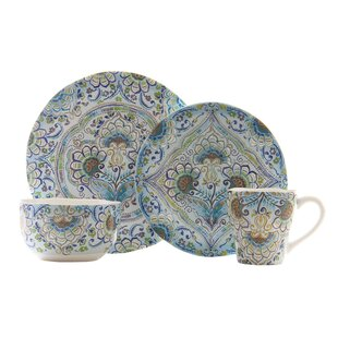Aisha 16 Piece Dinnerware Set, Service for 4