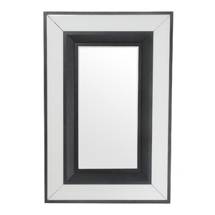 House of Hampton Rectangle Black/White Accent Mirror