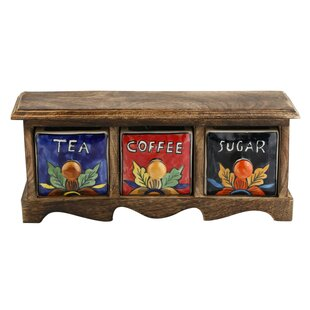 Kindwer Curios Tea Coffee Sugar 3 Drawer Apothecary Chest
