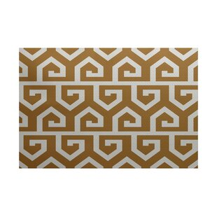 Georgia-May Geometric Print Gold Indoor/Outdoor Area Rug