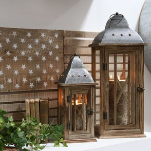 Square 2 Piece Wood Lantern Set by Gracie Oaks