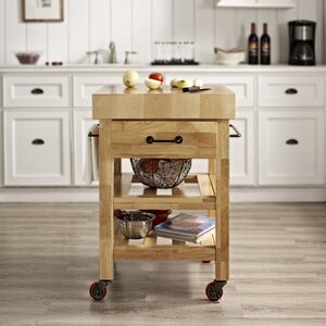 Marston Island Kitchen Cart with Wood Top