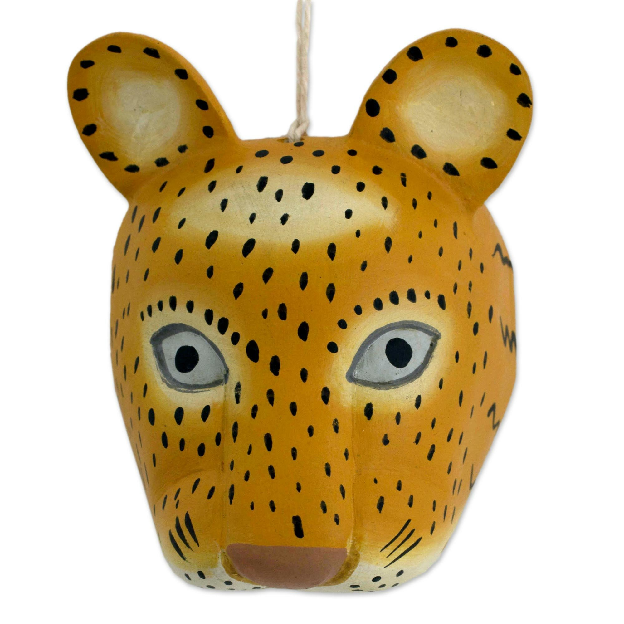 Novica Artisan Carved and Painted Pinewood Jaguar Mask Wall Décor ...