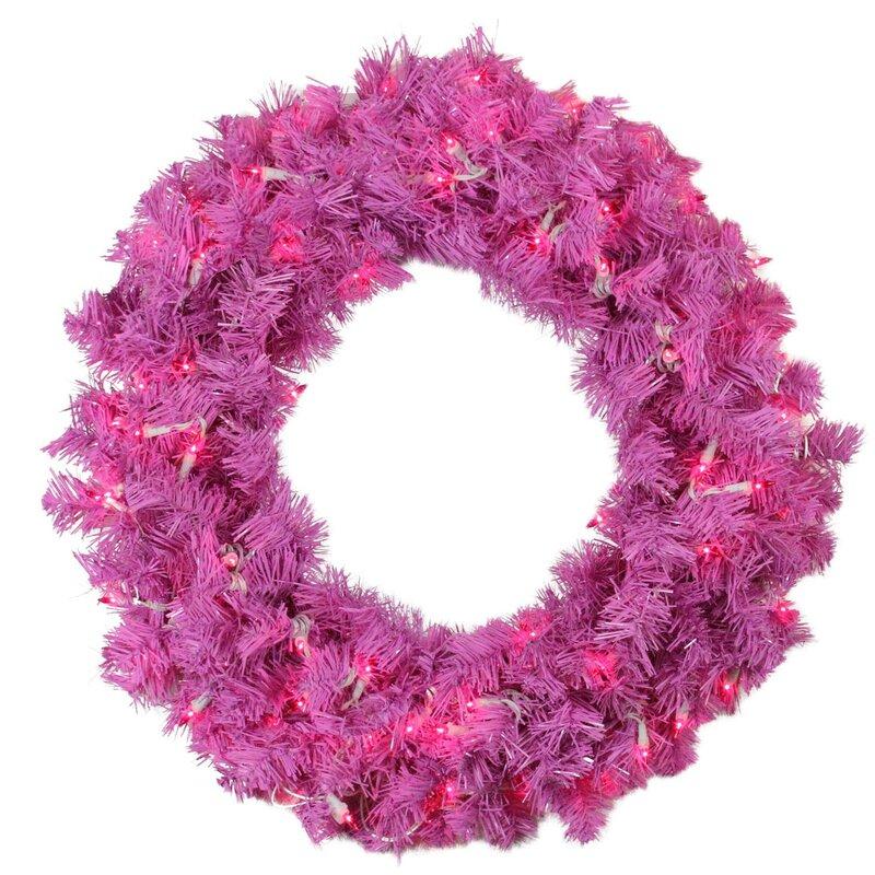 36 Lighted Artificial Pink Cedar Pine Christmas Wreath