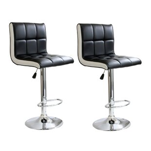Giannone Adjustable Height Swivel Bar Stool (Set of 2) Orren Ellis