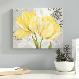 'Beautiful, Vintage Gray and Yellow Flower' Acrylic Painting Print on Canvas