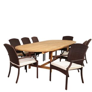 Garris 9 Piece Teak Dining Set with Cushions