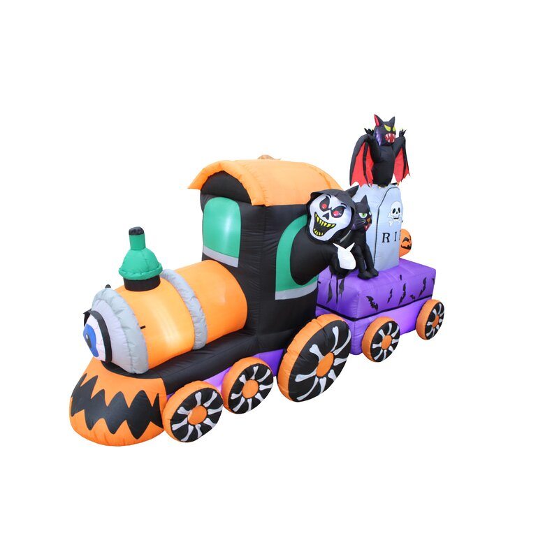 Beautiful Halloween Reaper Drive Train Inflatable With Tombstone And Bat And Cat
