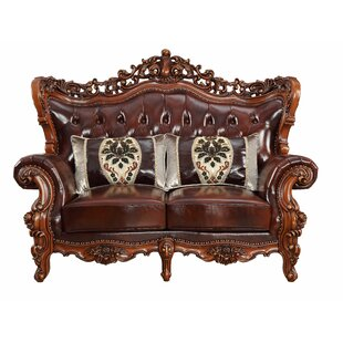 Shop Misael Leather Loveseat by Astoria Grand