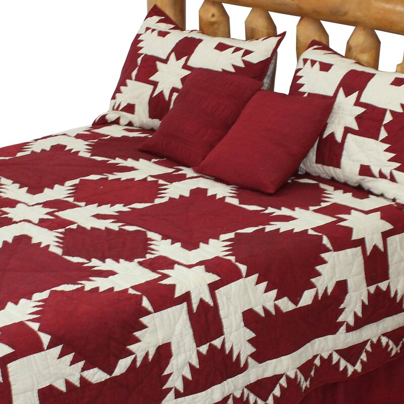 Millwood Pines Odessa Ruby Feathered Star Reversible Quilt Wayfair