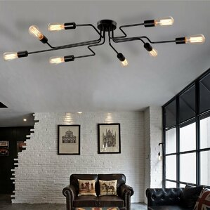 living room ceiling lighting. Metal Steel Art 8 Light Semi Flush Mount Lighting You ll Love  Wayfair