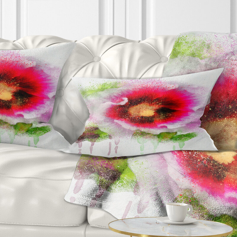 East Urban Home Floral Poppy With Watercolor Splashes Lumbar Pillow Wayfair