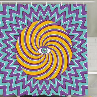 Third Eye Symbol inside Hypnotic Spiral Circles Trippy Lines Mystic Hippie Boho Shower Curtain Set