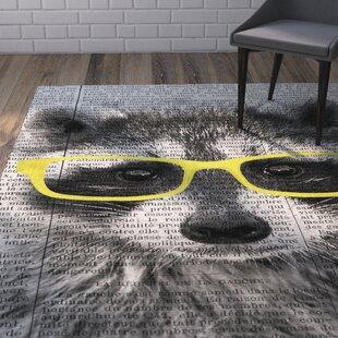 Read Reviews Bakke in Glasses Gray/White Area Rug ByWrought Studio