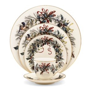 Winter Greetings Bone China 5 Piece Place Setting, Service for 1