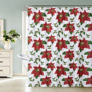 Frances Christmas Flower Single Shower Curtain