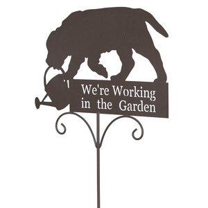 We're Working in the Garden Dog Garden Sign